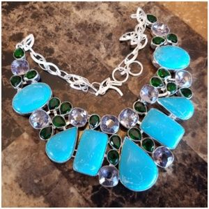 """Turquoise Necklace with Topaz & Tourmaline 17"""""""